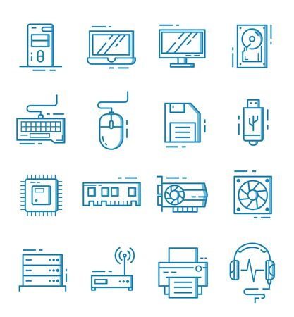 Set of computer component icons with outline style.