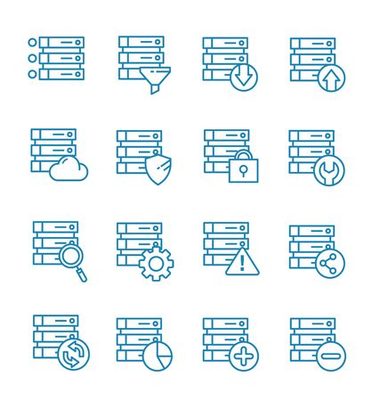 Set of database icons with outline style.