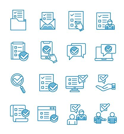Set of survey icons with outline style.