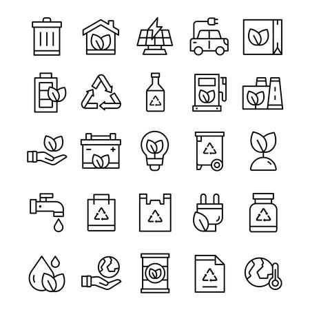 Set of Ecology icons with line art style. Ilustracje wektorowe
