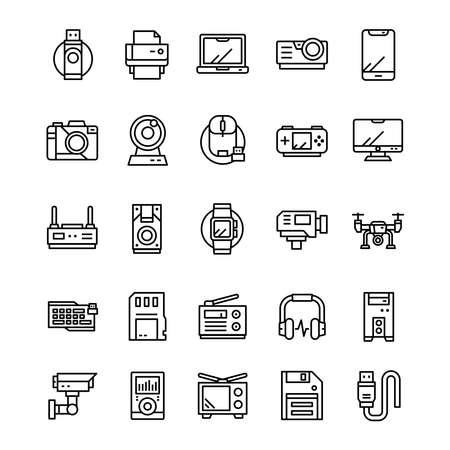 Set of Device and gadget icons with line art style. Ilustração
