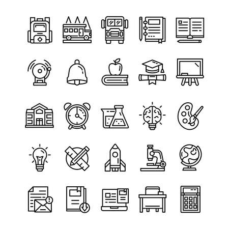 Set of Back to school icons with line art style.