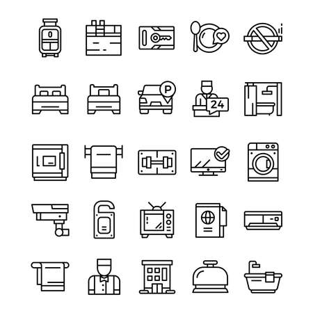 Set of Hotel icons with line art style.