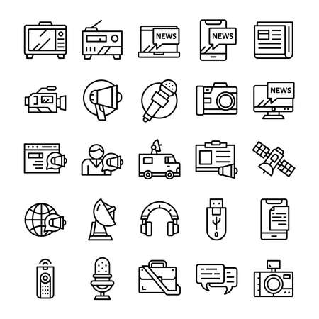 Set of Mass media icons with line art style. 向量圖像