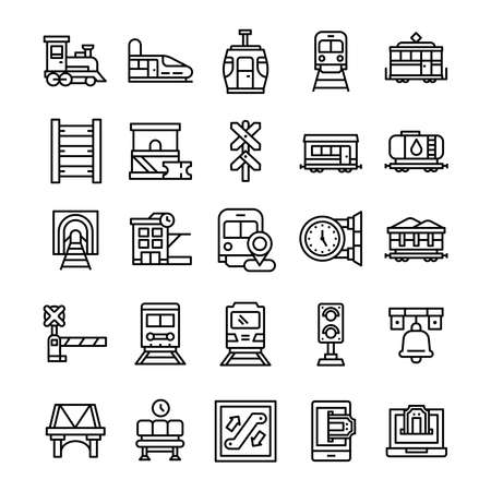 Set of Railway icons with line art style.