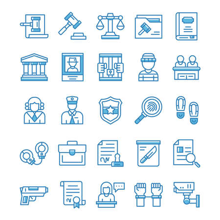 Set of Justice and Law icons with blue style. 矢量图像