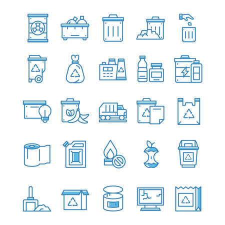 Set of Waste icons with blue style.