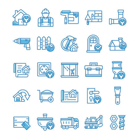 Set of Home Renovation icons with blue style.
