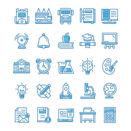 Set of Back to school icons with blue style.