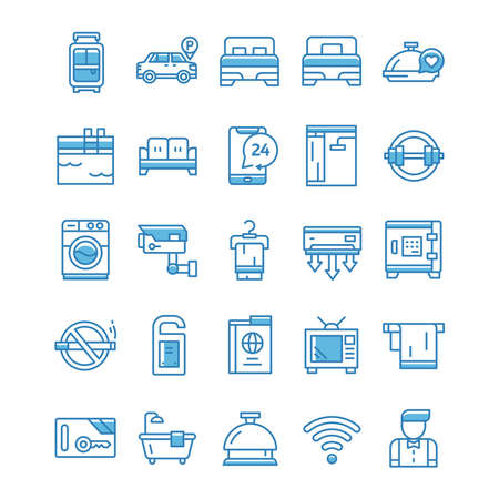 Set of Hotel icons with blue style.