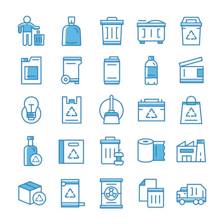 Set of Garbage icons with blue style.