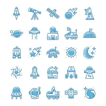 Set of Space icons with blue style.