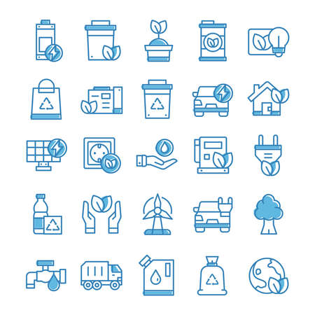 Set of Environment icons with blue style.