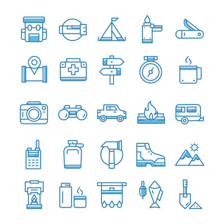 Set of Hiking Camping icons with blue style.