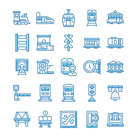 Set of Railway icons with blue style.