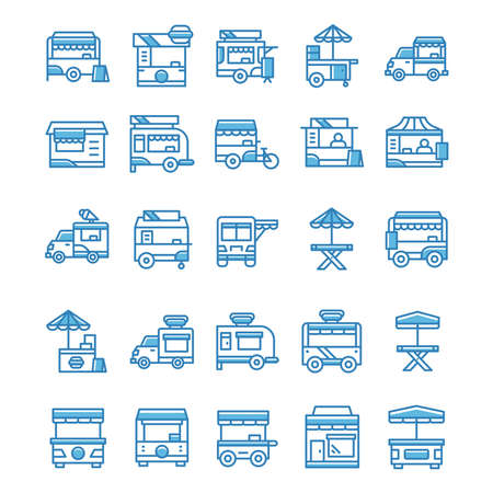 Set of Stand food icons with blue style.
