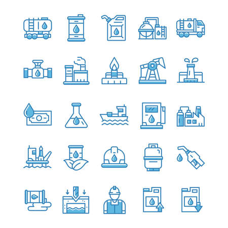 Set of Oil industry icons with blue style.