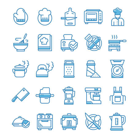 Set of Cooking icons with blue style.