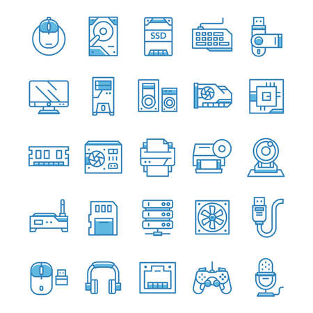 Set of Computer and Hardware icons with blue style. 矢量图像