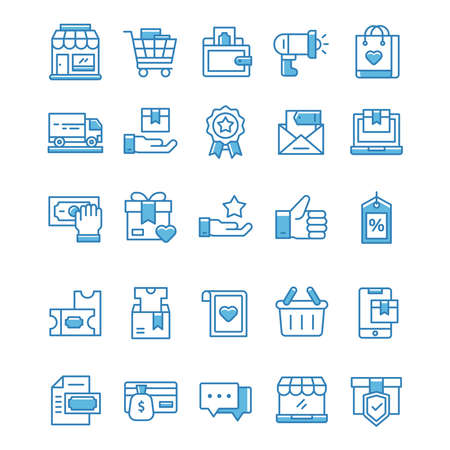 Set of Shopping icons with blue style.
