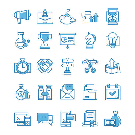 Set of Startup icons with blue style.