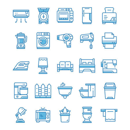 Set of Household icons with blue style. 矢量图像