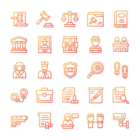 Set of Justice and Law icons with gradient style. Vektorové ilustrace