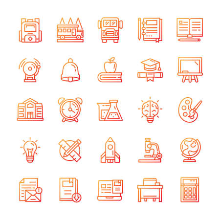 Set of Back to school icons with gradient style.