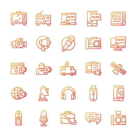 Set of Mass media icons with gradient style.
