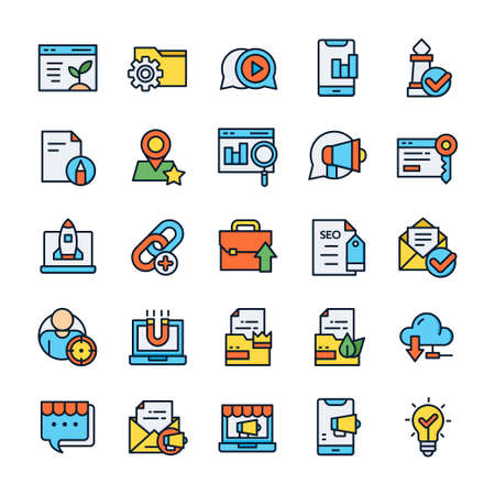 Set of SEO icons with outline color style. Vektorové ilustrace