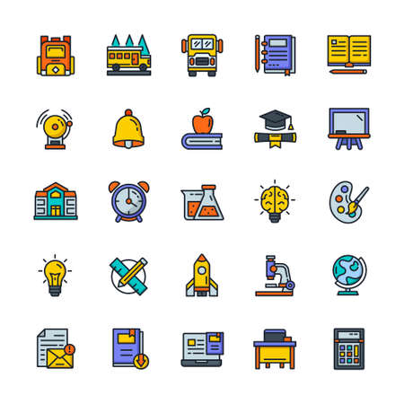 Set of Back to school icons with outline color style.