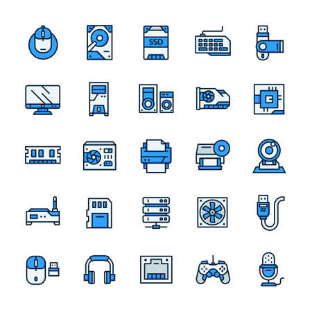 Set of Computer and Hardware icons with outline color style.