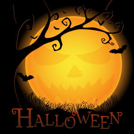 uğursuz: Halloween postcard with an ominous moon, tree and bats Çizim