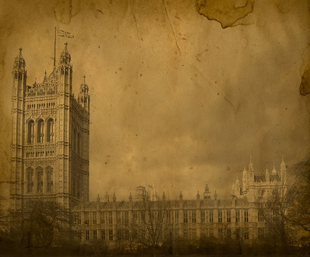 London. Vintage Westminster Abbey. House of Parliament Stock Photo
