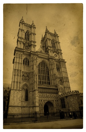 London. Vintage Westminster Abbey. Old grunge carboard.