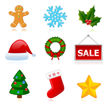 Collection of web holiday icons (Christmas, New Year). Vector Vector