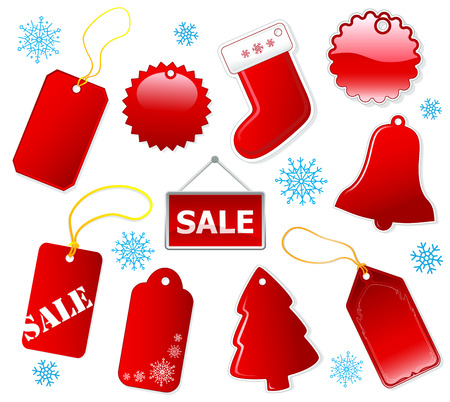 Holiday shopping red tags and label set. Christmas. Vector eps10 Illustration