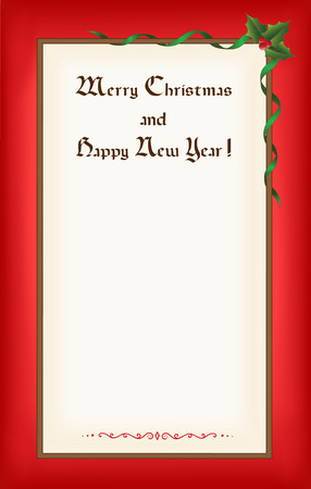 Old Christmas (New Year) blank with frame, congratulations and space for text. Eps10 Illustration