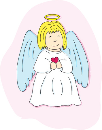Cartoon angel blond with heart on a pink background Vector