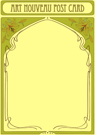 nouveau: Art Nouveau Frame with flower lily and space for text Illustration