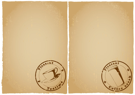 Two old grunge papers form menu for tea, coffee. Place for text Illustration