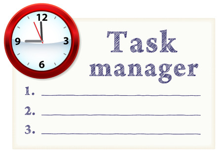 Clock face on a piece of paper with a list of tasks. Blank space for text Illustration