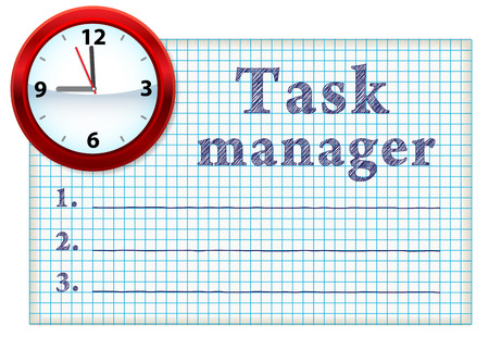 Clock face on a piece of paper with a list of tasks. Blank space for text Stock Vector - 8490556