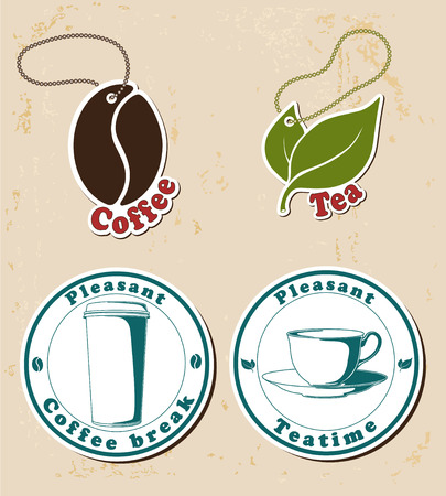 Coffe and tea stamps (beverage coaster) and tags set.
