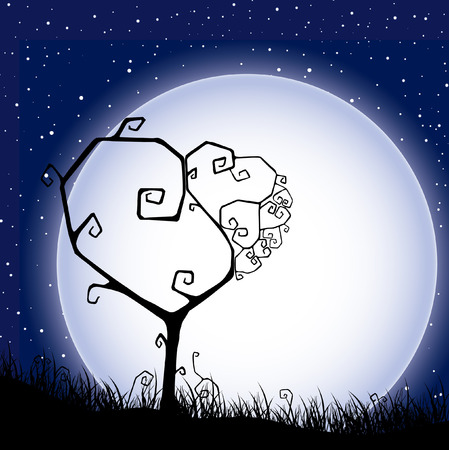 Valentine`s background with silhouette tree, heart and moon.