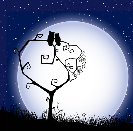Valentine`s background (card) with tree, silhouette love owls and moon in the starry sky. 矢量图像