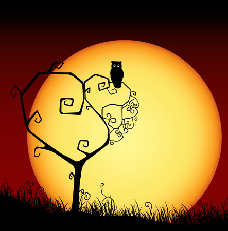 Scary valentine card with tree and sunset Vector
