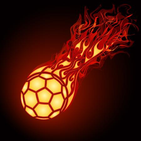 Flaming football (soccer) ball falling Vector