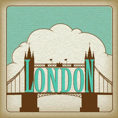 London Landmark, Tower Bridge. Old cardboard.