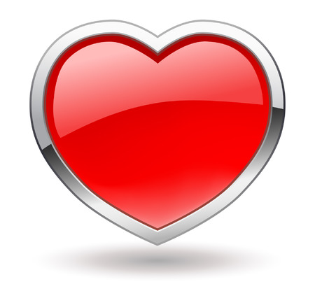rim: Heart. Shiny valentine icon with chrome rim. Vector